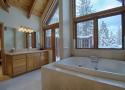 Master Bathroom with Snowy Views